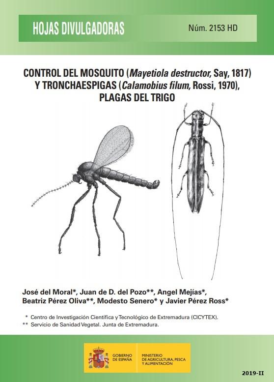 Cubierta de Control del mosquito (Mayetiola destructor, Say, 1817) y tronchaespigas (Calamobius filum, Rossi, 1970), plagas del trigo