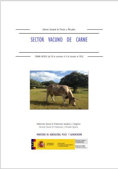 Cubierta de Informe Semanal de Precios y Mercados: Sector Vacuno de Carne