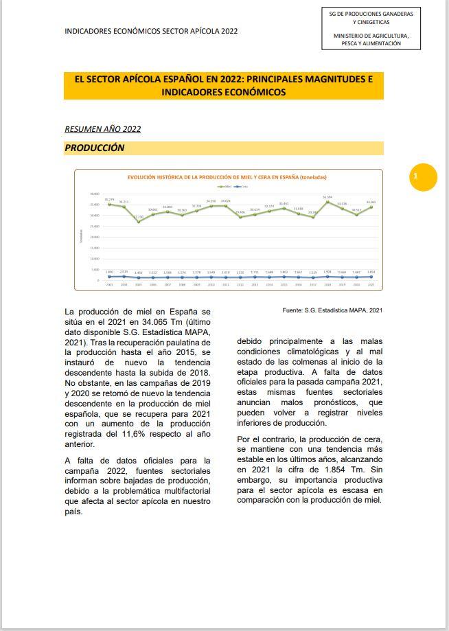 Cubierta de El Sector Apícola en Cifras. Principales Indicadores Económicos