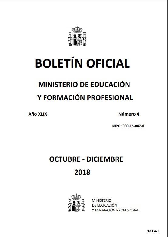 Cubierta de Boletín Oficial del Ministerio de Educación, Cultura y Deporte