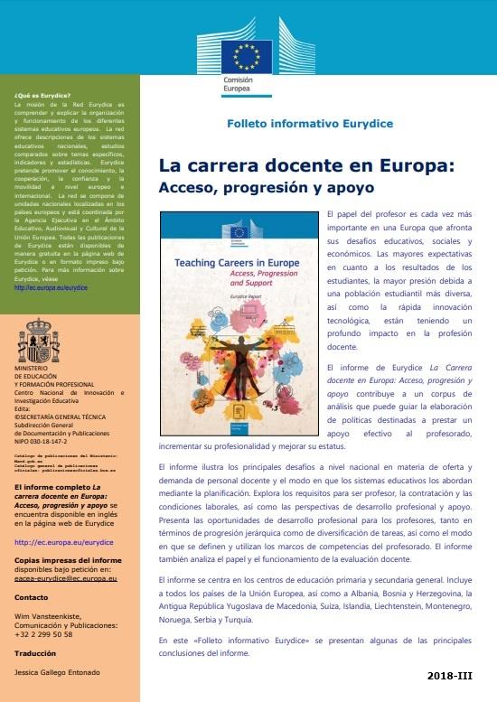 Cubierta de Folleto informativo Eurydice: la carrera docente en Europa : acceso, progresión y apoyo