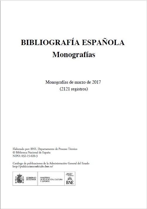 Cubierta de Bibliografía Española. Monografías