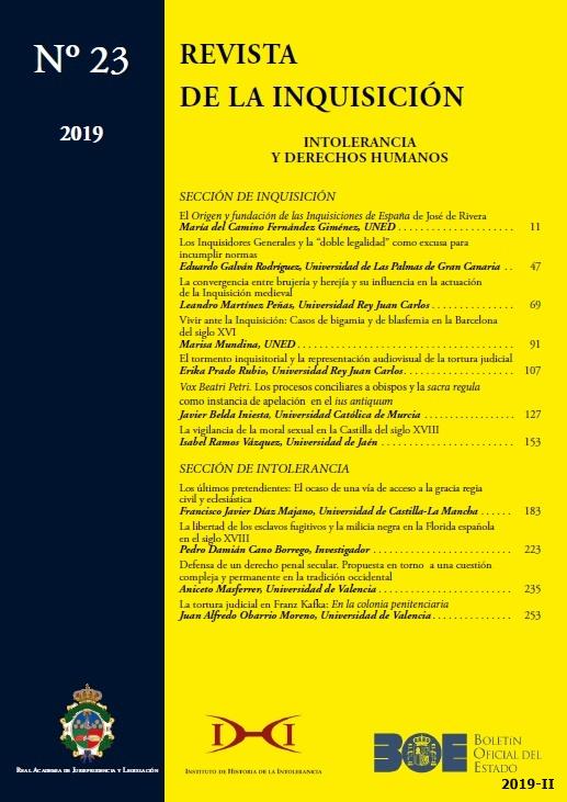 Cubierta de Revista de la Inquisición. Intolerancia y Derechos Humanos