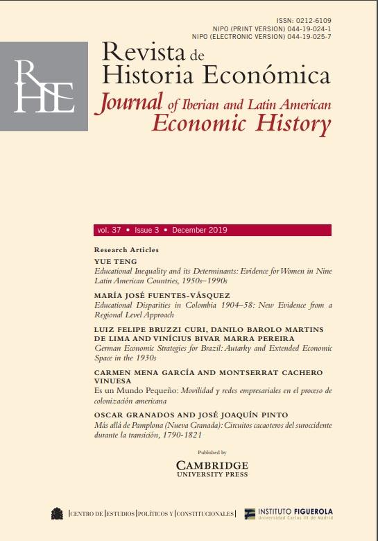 Cubierta de Revista de Historia Económica = Journal of Iberian and Latin American Economic History