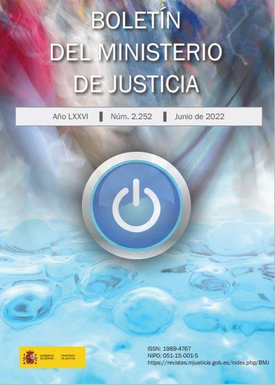 Cubierta de Boletín del Ministerio de Justicia