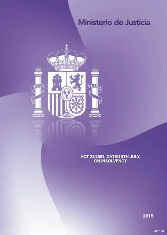 Cubierta de Act 22/2003, dated 9th july, on insolvency