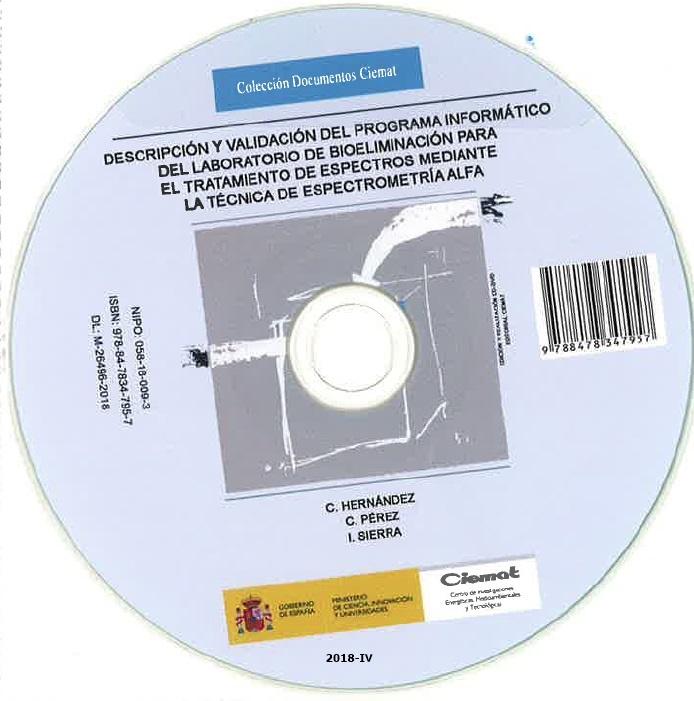 Cubierta de Descripción y validación del programa informático del laboratorio de bioeliminación para el tratamiento de espectros mediante la técnica de espectrometría alfa