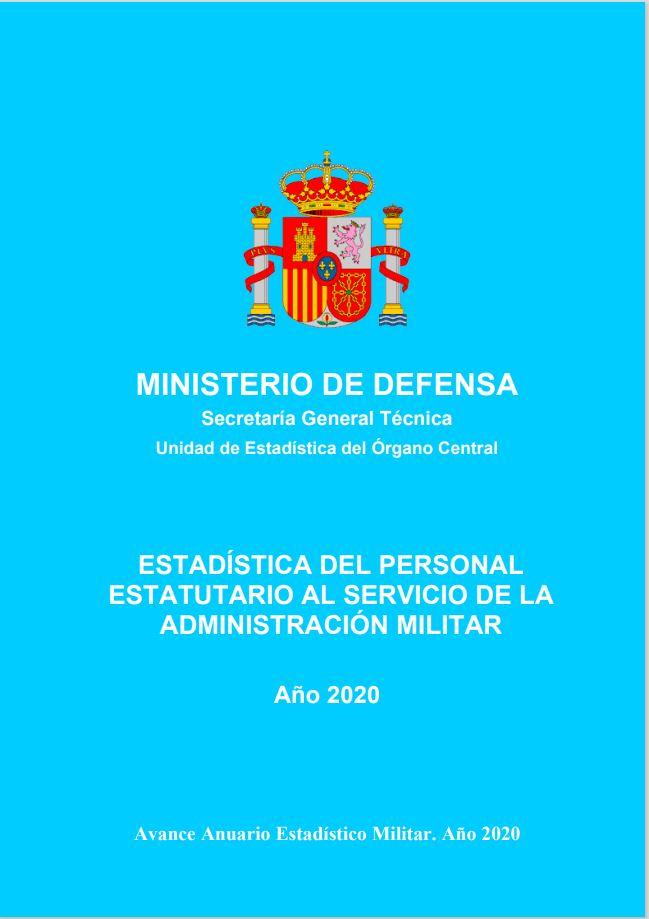 Cubierta de Estadística del Personal Estatutario al Servicio de la Administración Militar