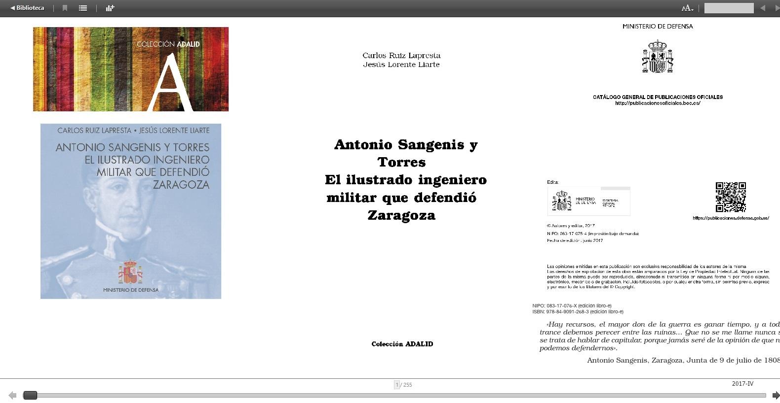 Cubierta de Antonio Sangenis y Torres: el ilustrado ingeniero militar que defendió Zaragoza