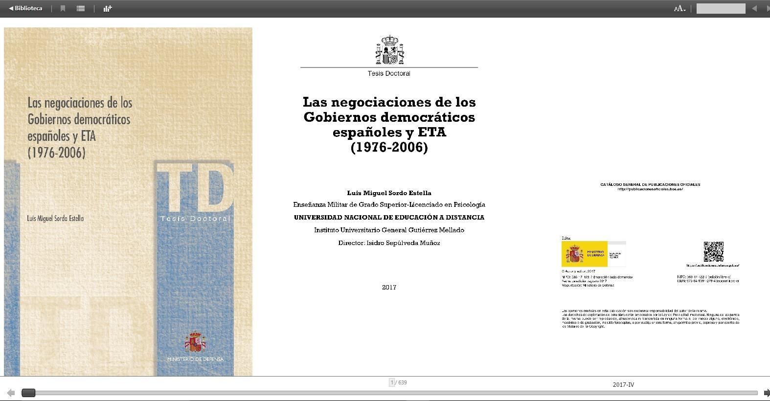 Cubierta de Las negociaciones de los gobiernos democráticos españoles y ETA (1976-2006)