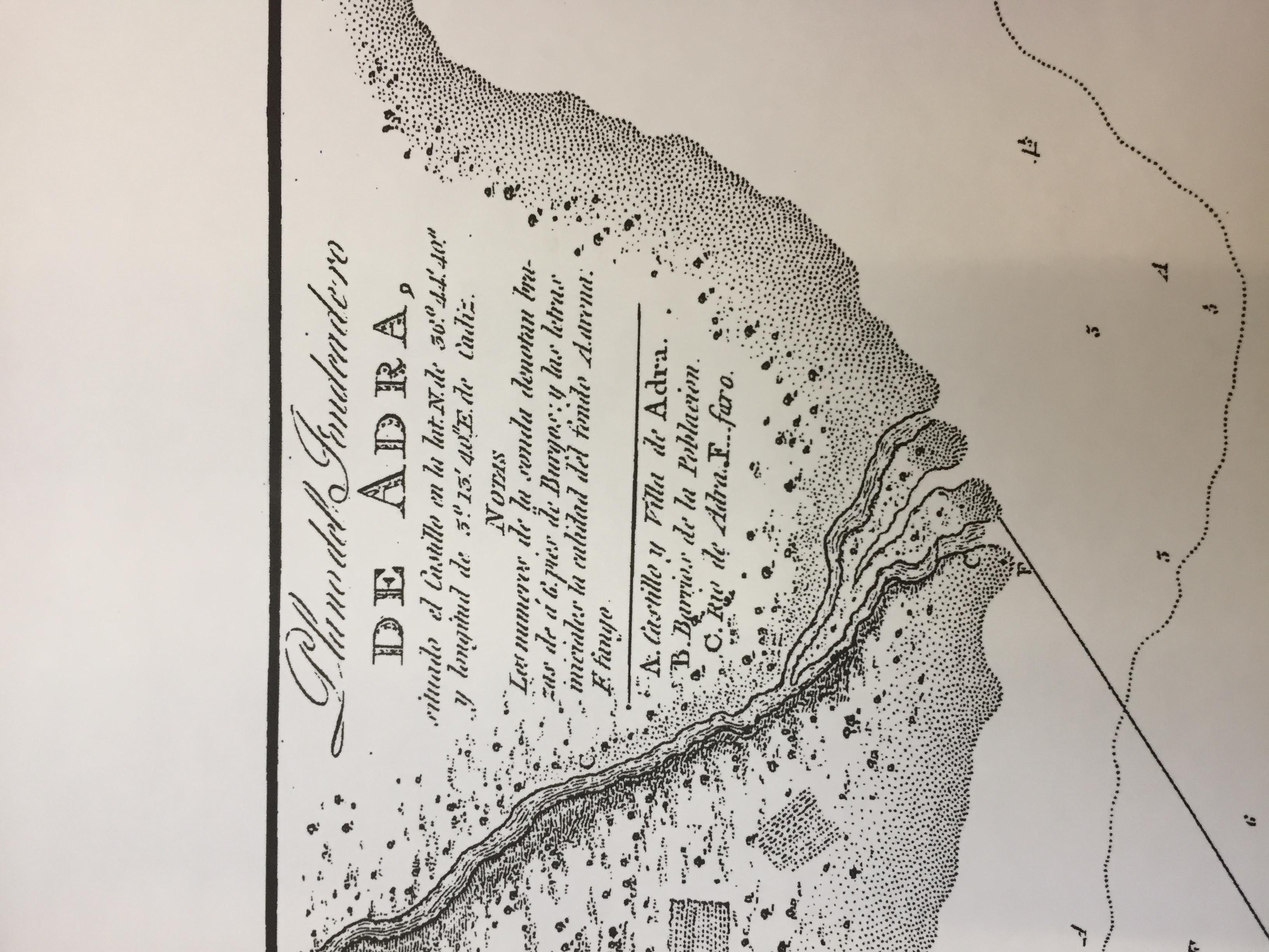 Cubierta de Plano del fondeadero de Adra (Cartografía Histórica de la D.H.)