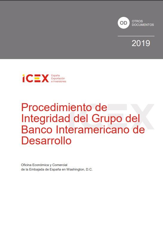 Cubierta de Procedimiento de integridad del Grupo del Banco Interamericano de Desarrollo 2019 (Estudios e informes de comercio exterior)