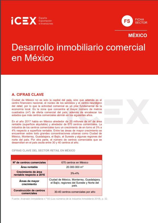Cubierta de Desarrollo inmobiliario comercial en México 2019 (Fichas Sector)