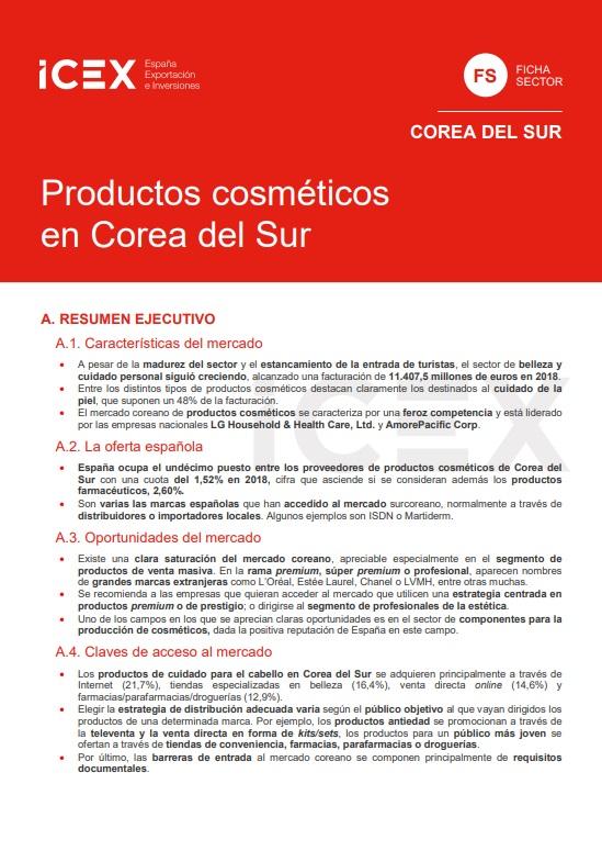 Cubierta de Productos cosméticos en Corea del Sur 2019 (Fichas Sector)