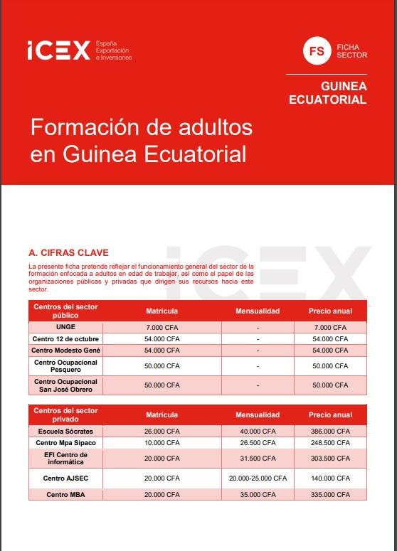 Cubierta de Formación de adultos en Guinea Ecuatorial 2019 (Fichas Sector)