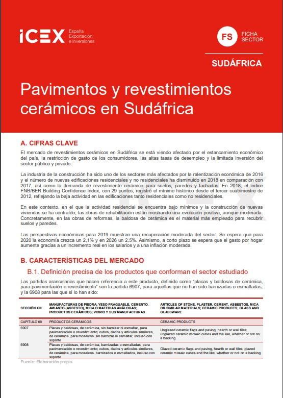 Cubierta de Pavimentos y revestimientos cerámicos en Sudáfrica 2019 (Fichas Sector)