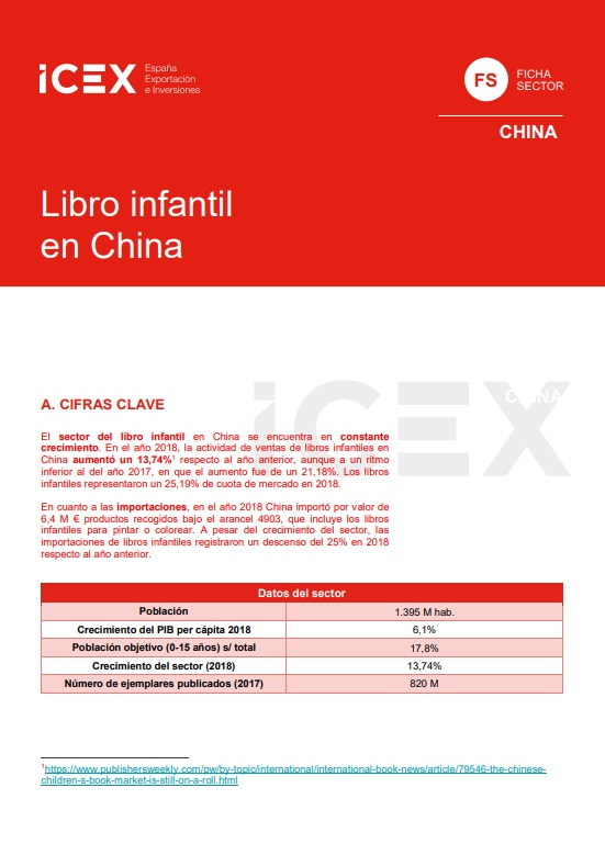Cubierta de Libro infantil en China 2019 (Fichas Sector)