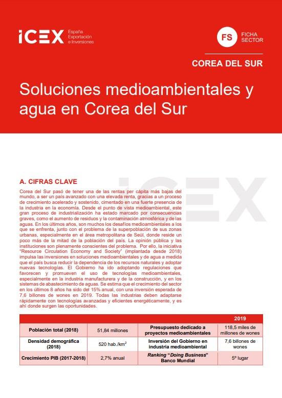 Cubierta de Soluciones medioambientales y agua en Corea del Sur 2019 (Fichas Sector)