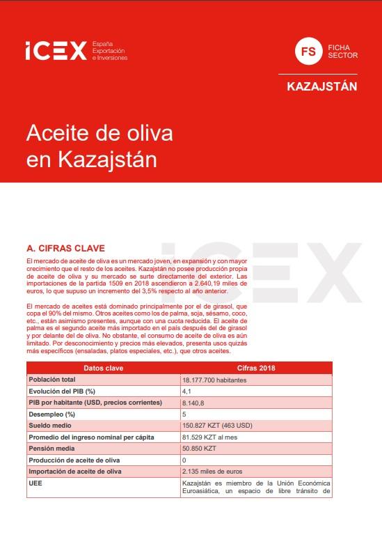 Cubierta de Aceite de oliva en Kazajstán 2019 (Fichas Sector)