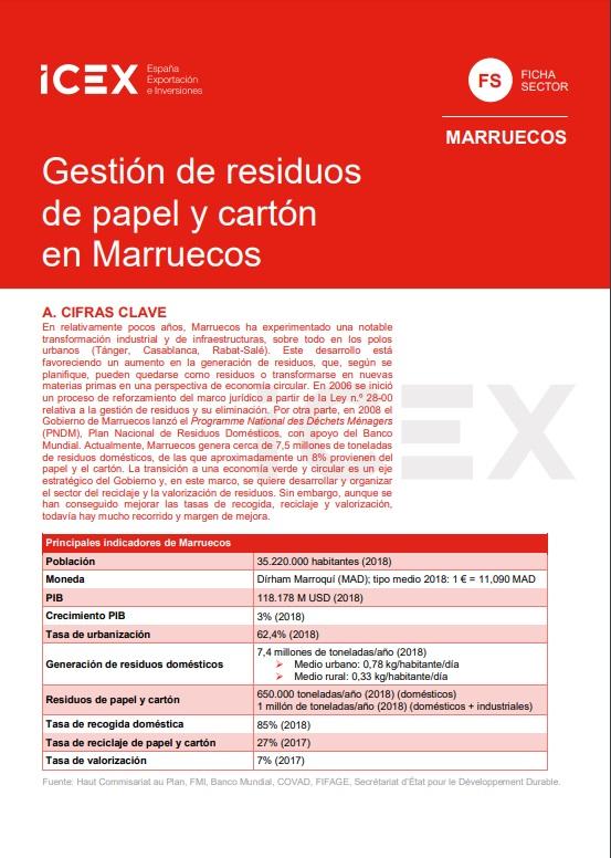 Cubierta de Gestión de residuos de papel y cartón en Marruecos 2019 (Fichas Sector)