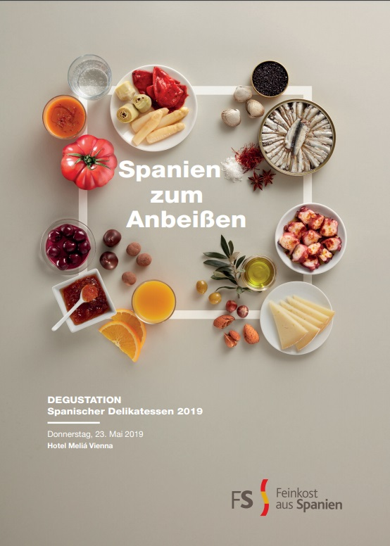 Cubierta de Spanien zum Anbeißen: feinkost aus Spanien : Donnerstag, 23. Mai 2019 (Catálogos / folletos de ferias e institucionales)