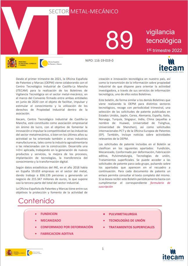 Cubierta de Boletín VT. Sector Metal-Mecánico