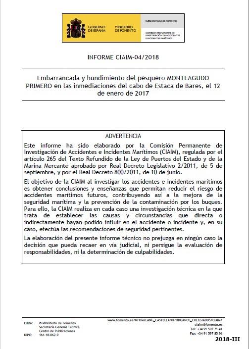 Cubierta de Informe CIAIM-04/2018: embarrancada y hundimiento del pesquero Monteagudo Primero en las inmediaciones del cabo de Estaca de Bares, el 12 de enero de 2017