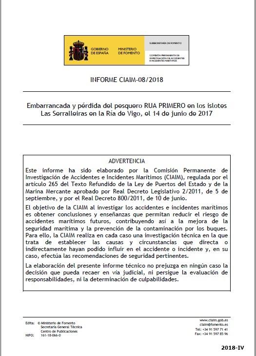 Cubierta de Informe CIAIM-08/2018: embarrancada y pérdida del pesquero Rua Primero en los islotes Las Serralleiras en la Ría de Vigo, el 14 de junio de 2017