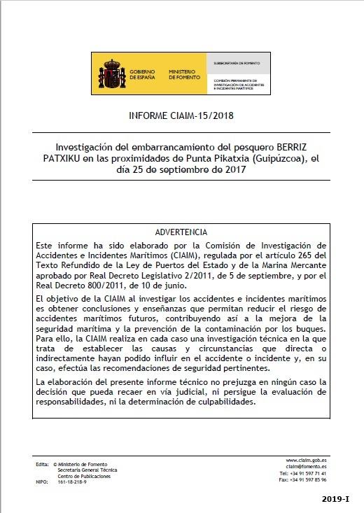 Cubierta de Informe CIAIM-15/2018: investigación del embarrancamiento del pesquero Berriz Patxiku en las proximidades de Punta Pikatxia (Guipúzcoa), el día 25 de septiembre de 2017
