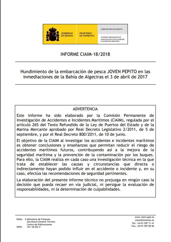 Cubierta de Informe CIAIM-18/2018: hundimiento de la embarcación de pesca Joven Pepito en las inmediaciones de la Bahía de Algeciras el 3 de abril de 2017