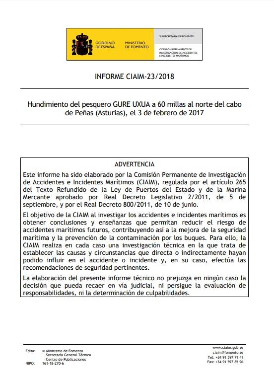 Cubierta de Informe CIAIM-23/2018: hundimiento del pesquero Gure Uxua a 60 millas al norte del cabo de Peñas (Asturias), el 3 de febrero de 2017