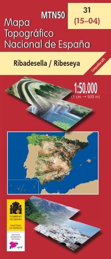Cubierta de Ribadesella/Ribeseya (Mapa topográfico nacional de España MTN50)