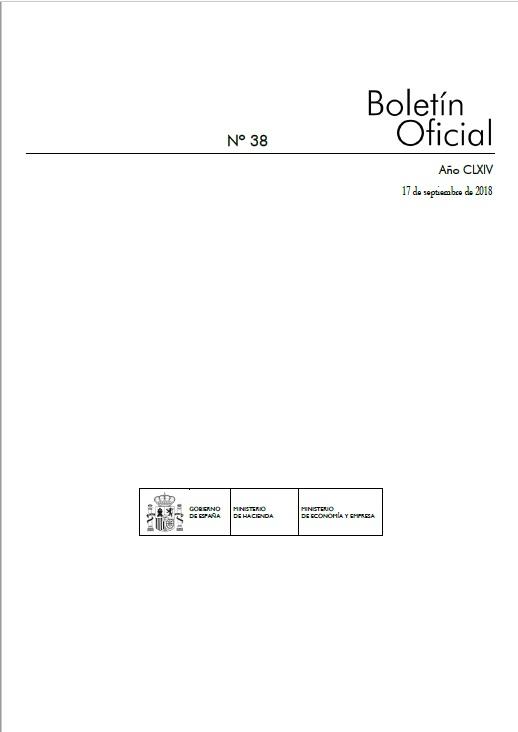 Cubierta de Boletín Oficial de los Ministerios de Hacienda y Función Pública y de Economía, Industria y Competitividad