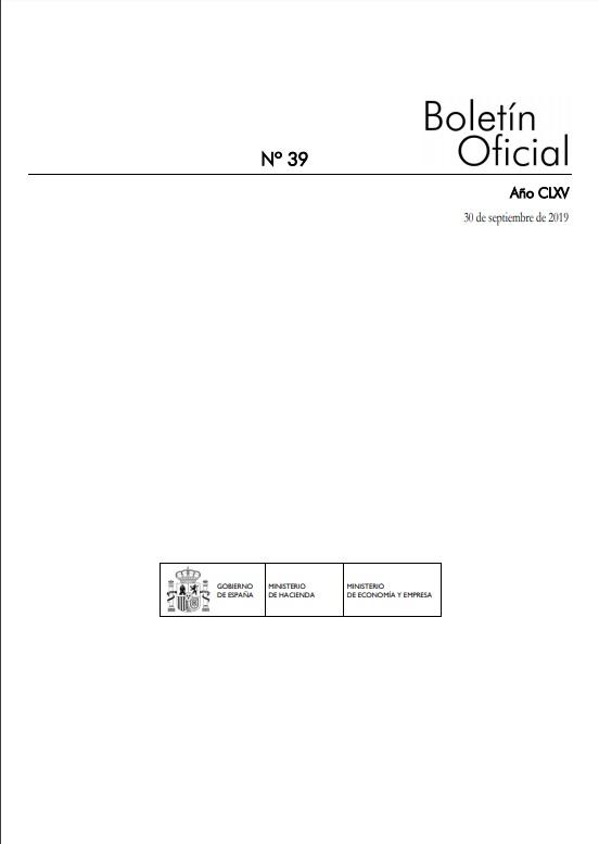 Cubierta de Boletín Oficial de los Ministerios de Hacienda y Economía y Empresa