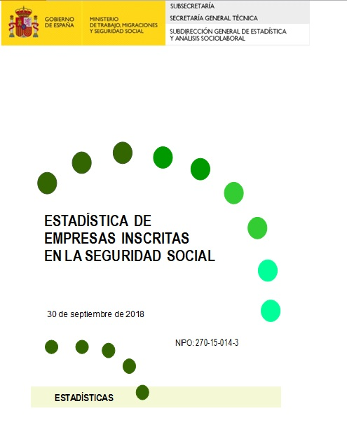 Cubierta de Estadística de Empresas Inscritas en la Seguridad Social