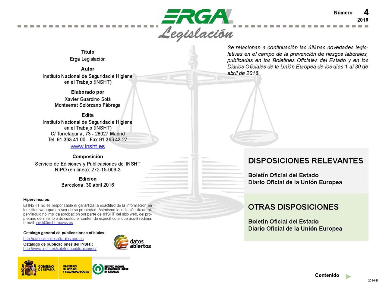 Cubierta de ERGA : Legislación