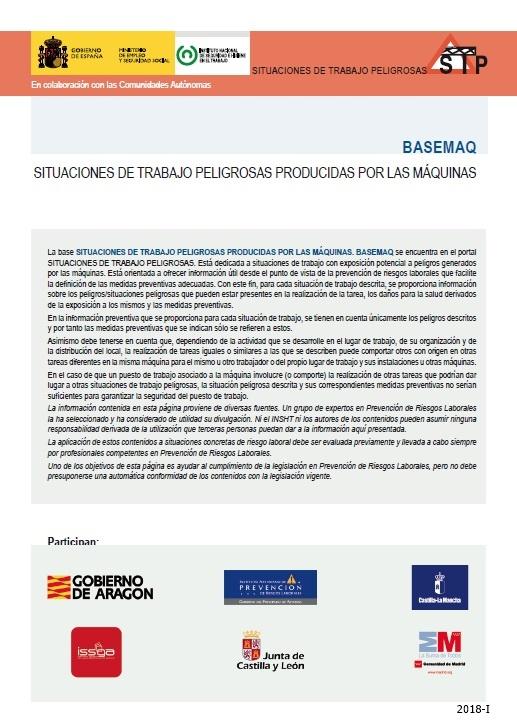 Cubierta de BASEMAQ: situaciones de trabajo peligrosas : [exposición potencial a peligros generados por las máquinas]