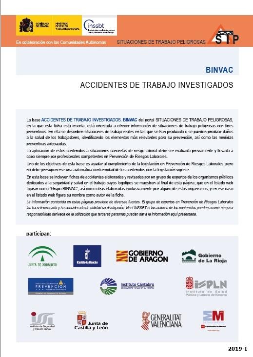 Cubierta de BINVAC: situaciones de trabajo peligrosas : [accidentes de trabajo investigados]