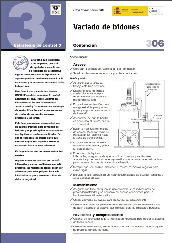 Cubierta de Vaciado de bidones (Fichas Control para Agentes Químicos (FCAQ))