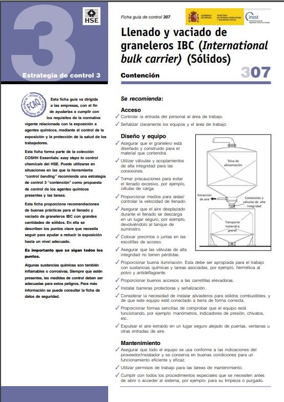 Cubierta de Llenado y vaciado de graneleros (International bulk carrier) (sólidos) (Fichas Control para Agentes Químicos (FCAQ))