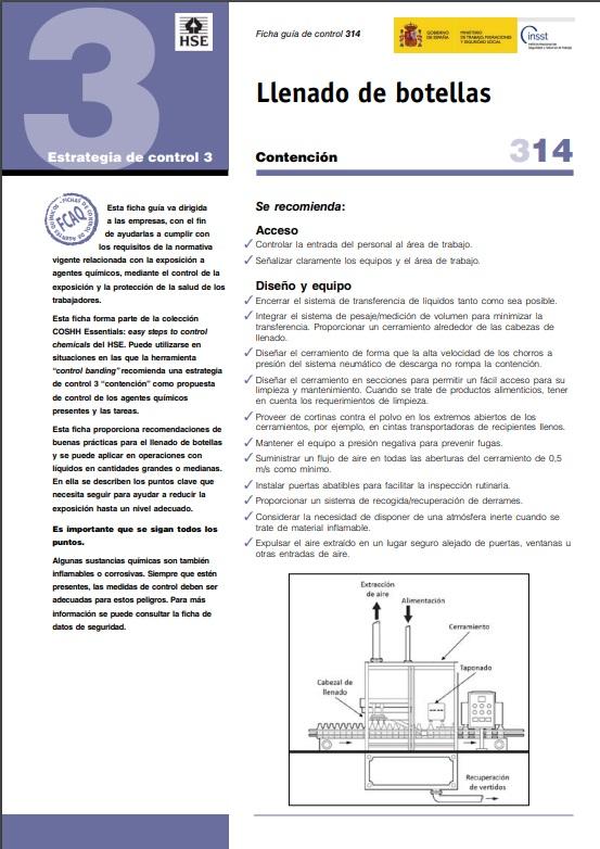 Cubierta de Llenado de botellas (Fichas Control para Agentes Químicos (FCAQ))