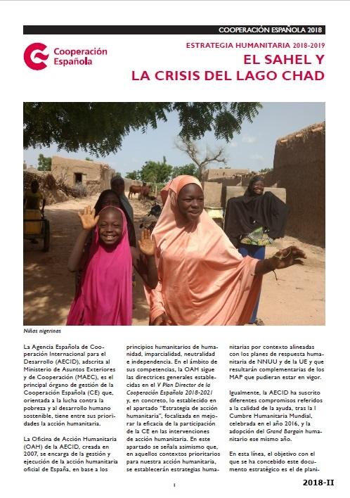 Cubierta de Estrategia humanitaria 2018-2019: El Sahel y la crisis del lago Chad : cooperación española 2018