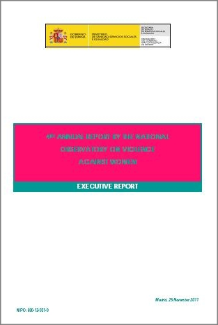 Cubierta de 4th annual report by the National Observatory on Violence against Women: rapport exécutif