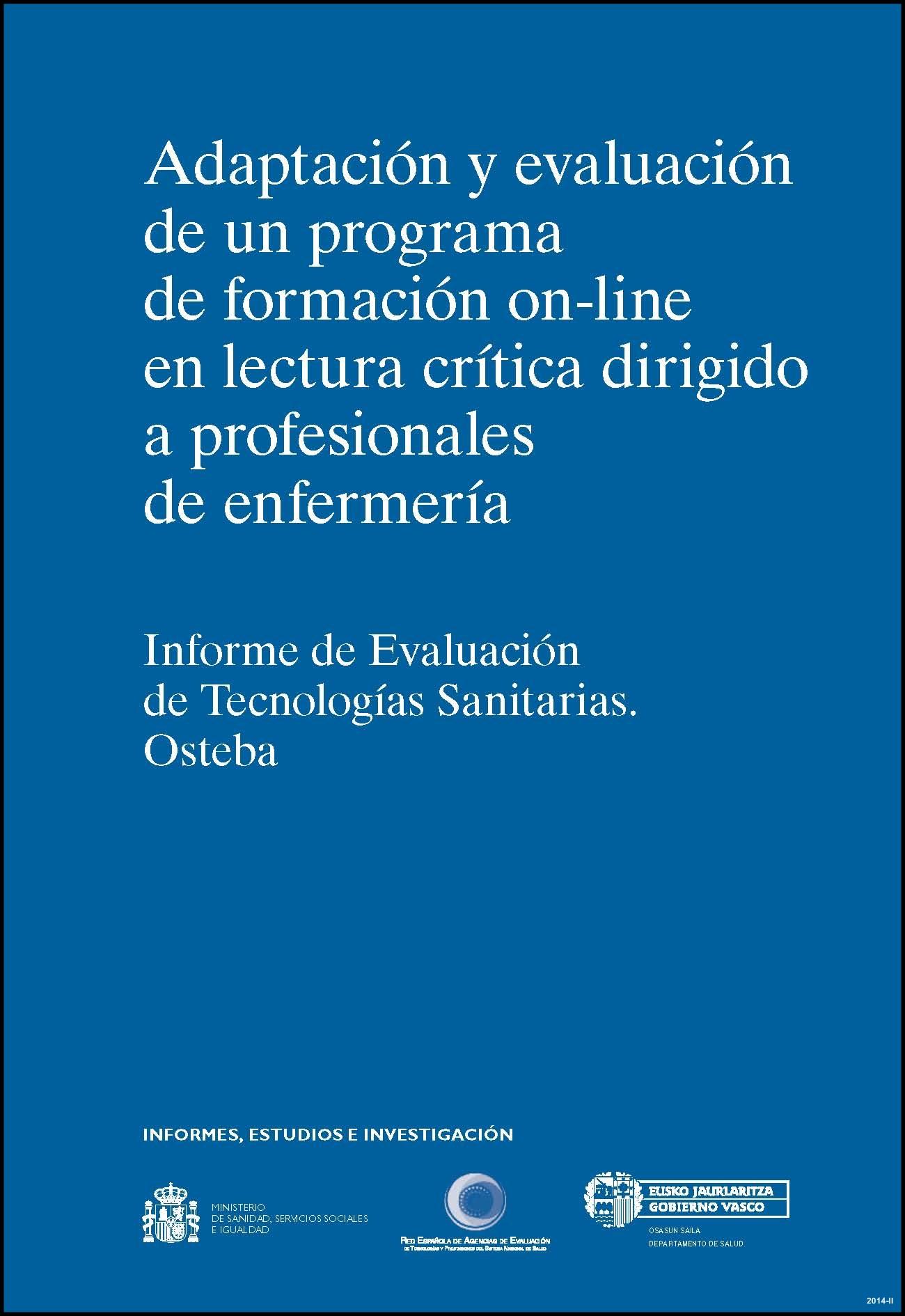 Cubierta de Adaptación y evaluación de un programa de formación on-line en lectura crítica dirigido a profesionales de enfermería