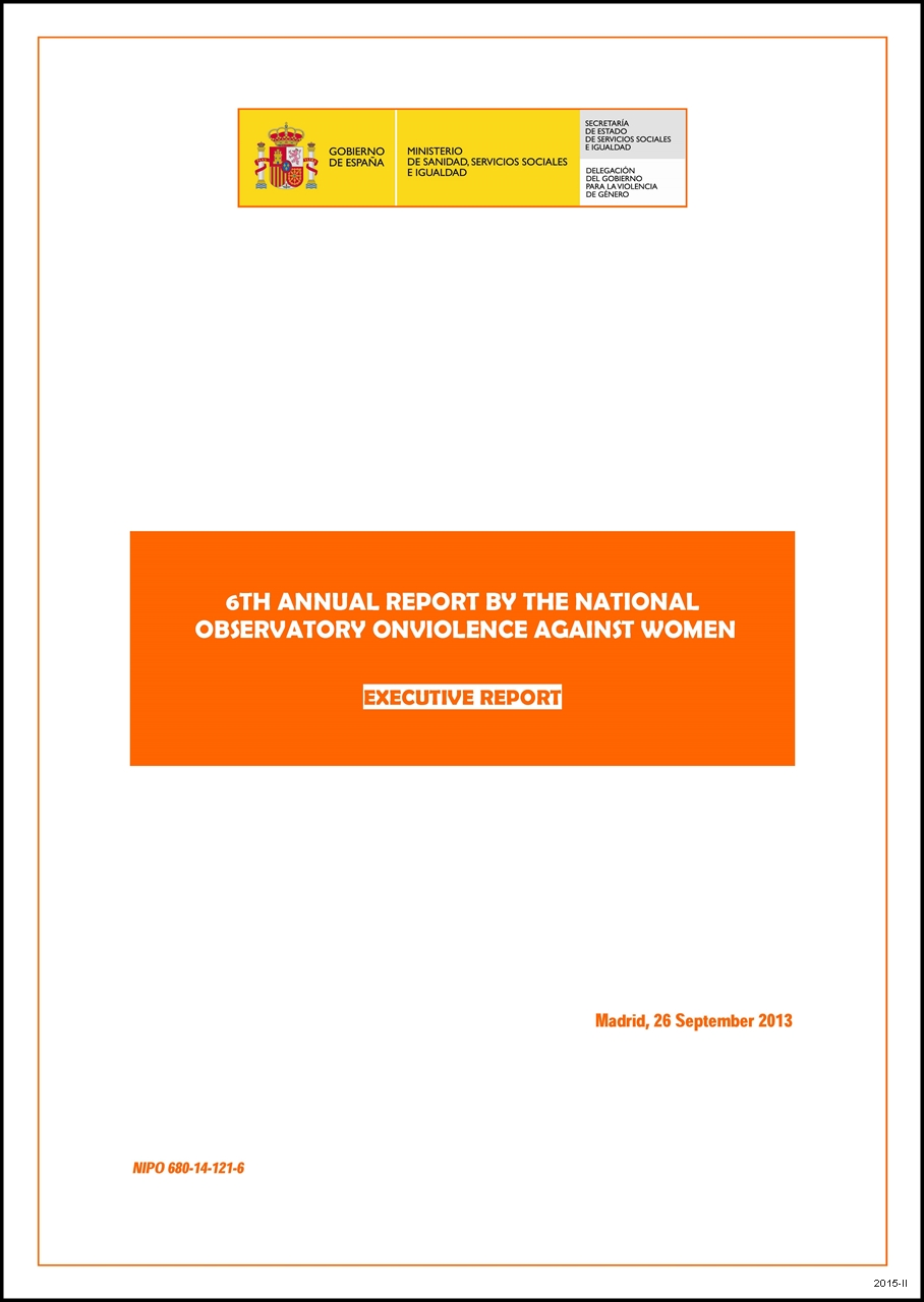 Cubierta de 6th annual report by the National Observatory on Violence against Women: executive report