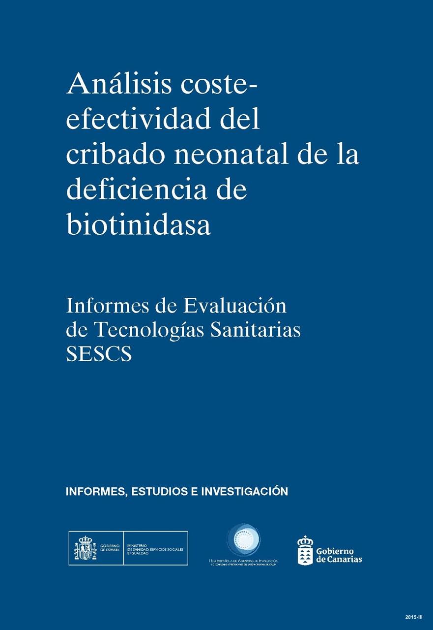Cubierta de Análisis coste-efectividad de cribado neonatal de la deficiencia de biotinidasa