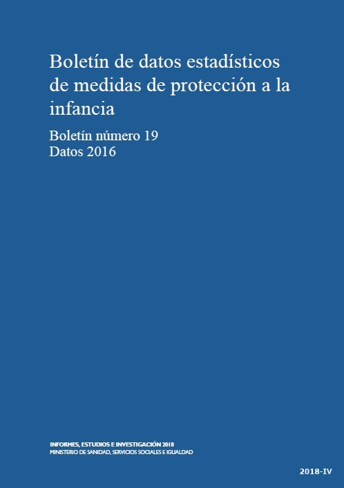 Cubierta de Boletín de Estadística Básica de Medidas de Protección a la Infancia