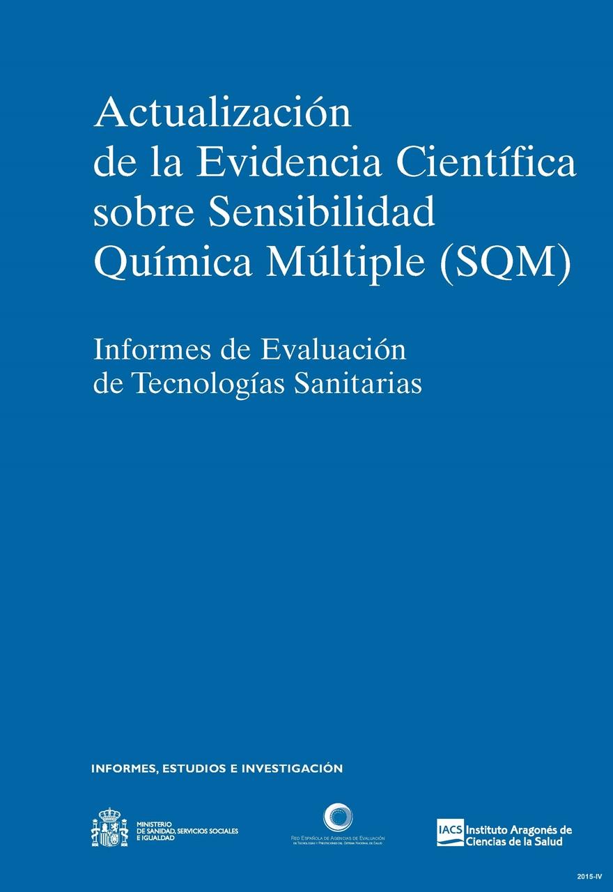 Cubierta de Actualización de la evidencia científica sobre sensibilidad química múltiple (SQM): informes de evaluación de tecnologías sanitarias