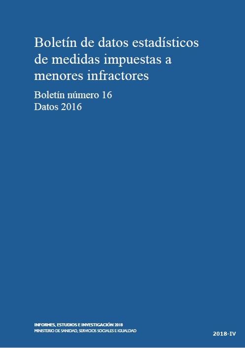 Cubierta de Boletín de Estadística Básica de Medidas Impuestas a los Menores Infractores