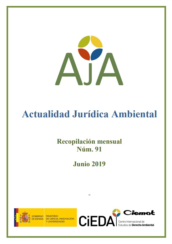 Cubierta de Actualidad Jurídica Ambiental : Recopilación Mensual
